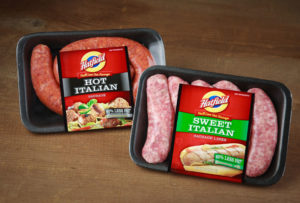 Packages of Hatfield Sausages and linerless label