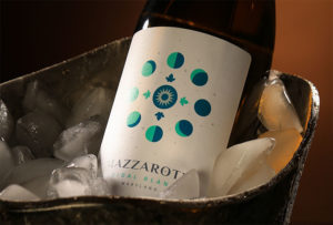 Bottle of Mazzroth wine sitting in a bucket of ice