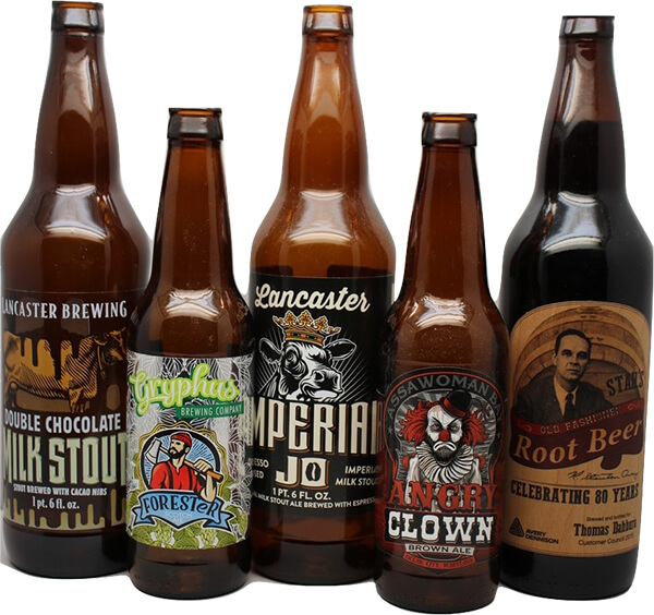 Various craft beer bottles with unique labels