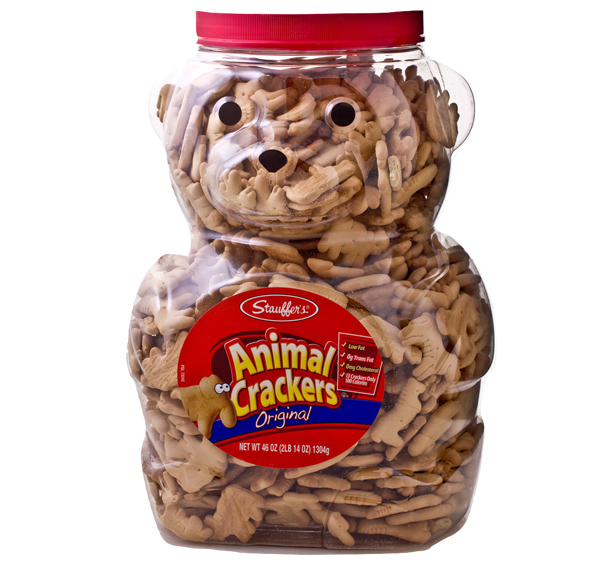 Teddy Bear shaped container of Animal Crackers