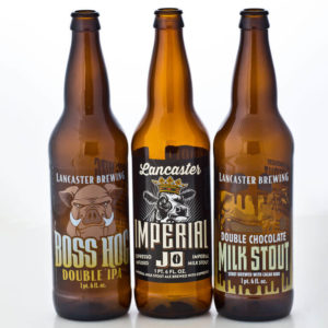 Beer bottles from Lancaster Brewing with custom labels