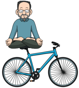 Label Guru meditating while on a bicycle