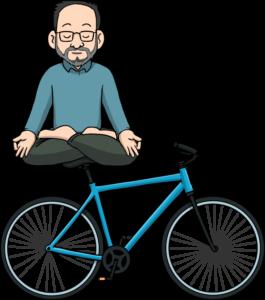 Illustration of Label Guru meditating while sitting on a bicycle