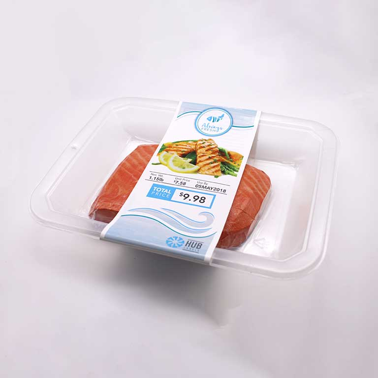 Salmon in linerless label container