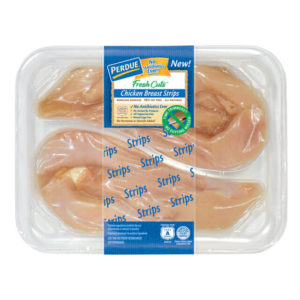 Perdue chicken breasts in a package with linerless label
